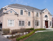 Stucco gives a stone like appearance and is easier to repair than actual stone.